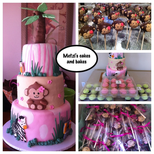 baby shower girl monkey theme cake cakepops cupcakes baby shower
