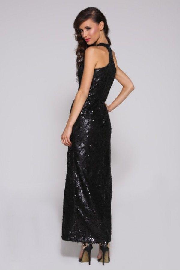 Elle Zeitoune Little Black Beaded Gown featuring razor split.