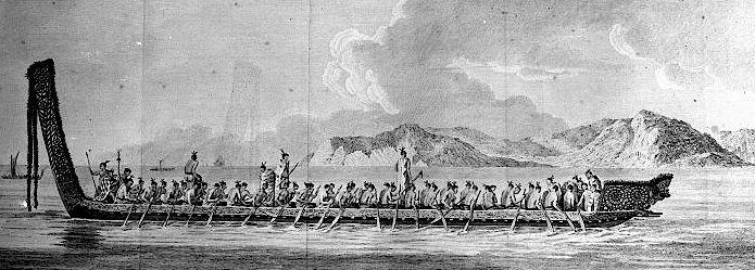 Maori war canoe depicted by Sydney Parkinson about April 1770
