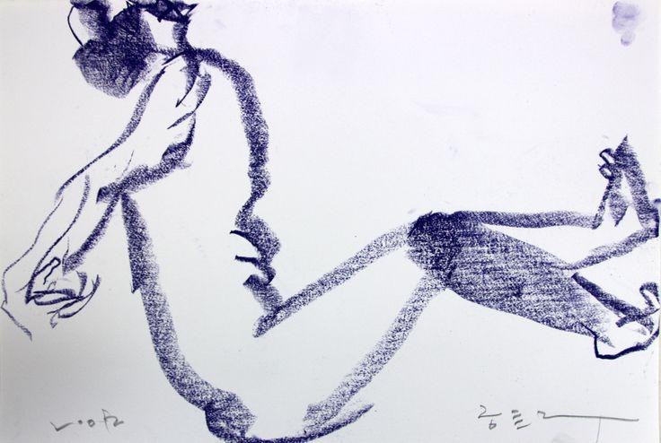 https://www.facebook.com/sahong.gum GumSahong,Nude,blue,Drawing 금사홍,누드,드로잉,블루