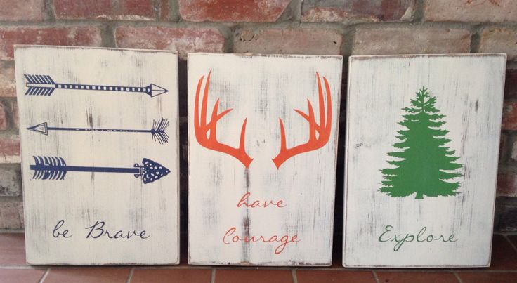 Be brave. Have courage. Explore. Set of 3 signs. Woodland nursery, boy room decor. Outdoor themed room. by TinasTinkers on Etsy