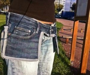 Tool Belt idea using denim jeans. This could also be used as a hip bag. Very cute style.