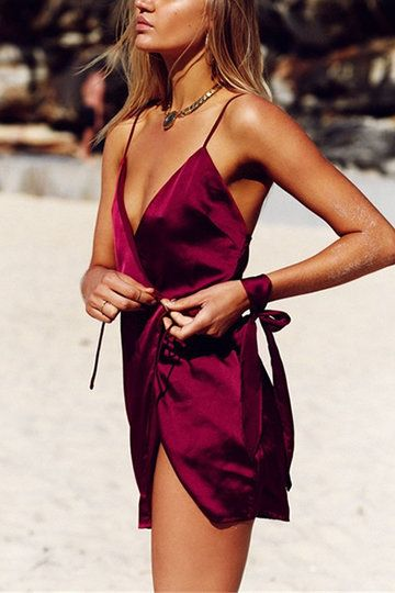 Vacation Style Self-tie Strappy Mini Dress In Burgundy US$15.95