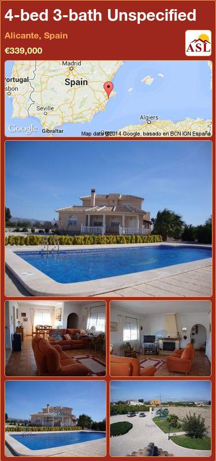 4-bed 3-bath Unspecified in Alicante, Spain ►€339,000 #PropertyForSaleInSpain