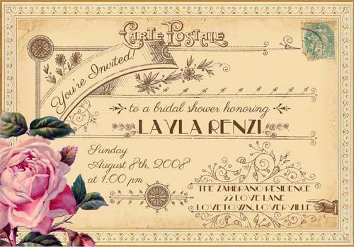 Evangeline - Vintage Victorian French Rose and Typography - Printable DIY Wedding Bridal Shower Postcard Invitations - Customized 229kr