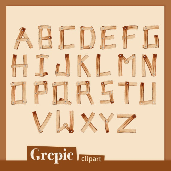 Wooden Alphabet clipart pack by Grepic on Etsy #wood #alphabet #letters #words #scrapbooking