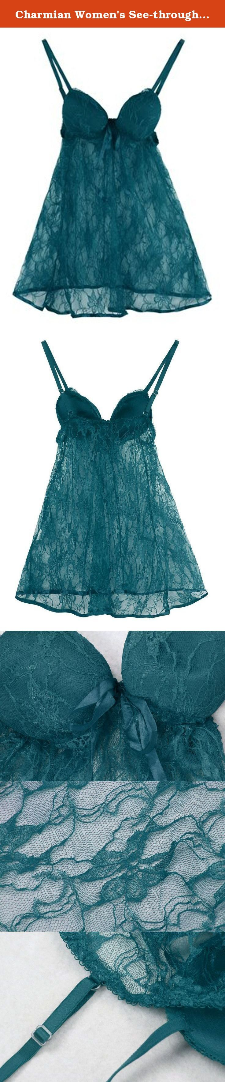 Charmian Women's See-through Lace Babydoll Sleepwear Chemise Lingerie Outfits Dark Green XX-Large. Sexy Lace Babydoll with Padded cups, Adjustable Straps, and Ribbon Trim, Matching g-string. About Material 90% Polyester 10% Spandex Guide to Choose Right Size The Size Chart Above is Measured of the Babydoll Lingerie, NOT YOUR BODY SIZE. Please Measure your Size Before Order, and Choose the Right Size Above that Fit you. About Size Chart Size Chart(cm) M/Under Bust: 70-85, Length from...