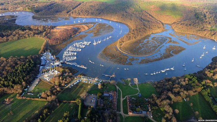 Aerial view of the River Beaulieu, Hampshire.  photo by Kevin Emmerson.