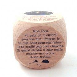 """Dé de """"prière du soir"""" en bois"""
