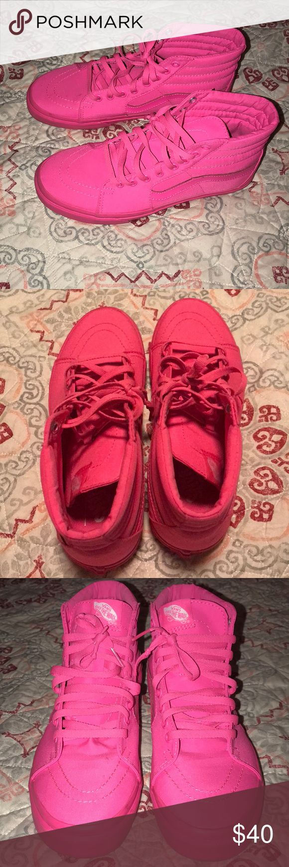 Hot Pink Vans!! Price Firm!! Unique Hot Pink Vans, Size 10.5 Woman's. Vans Shoes Sneakers