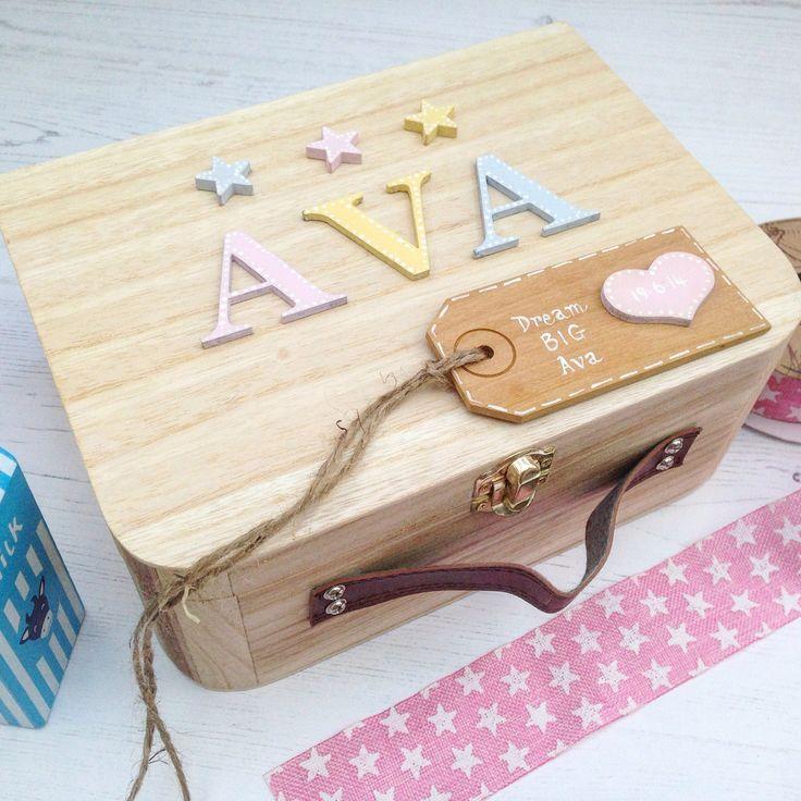 Baby gift, newborn gift, personalised newborn gift, baby girl, nursery decor,Memory Box, Keepsake Box Pastel Personalised Memory Box by Popsyclunk on Etsy