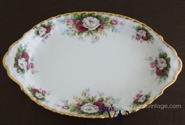 Vintage Royal Albert Bone China Cake or Serving Dish with Floral Design & Gilt Edging. $40.00