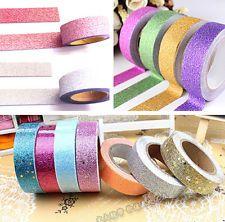 5M DIY Glitter Washi Tape Paper Adhesive Scrapbooking Sticky Craft Decor JT15