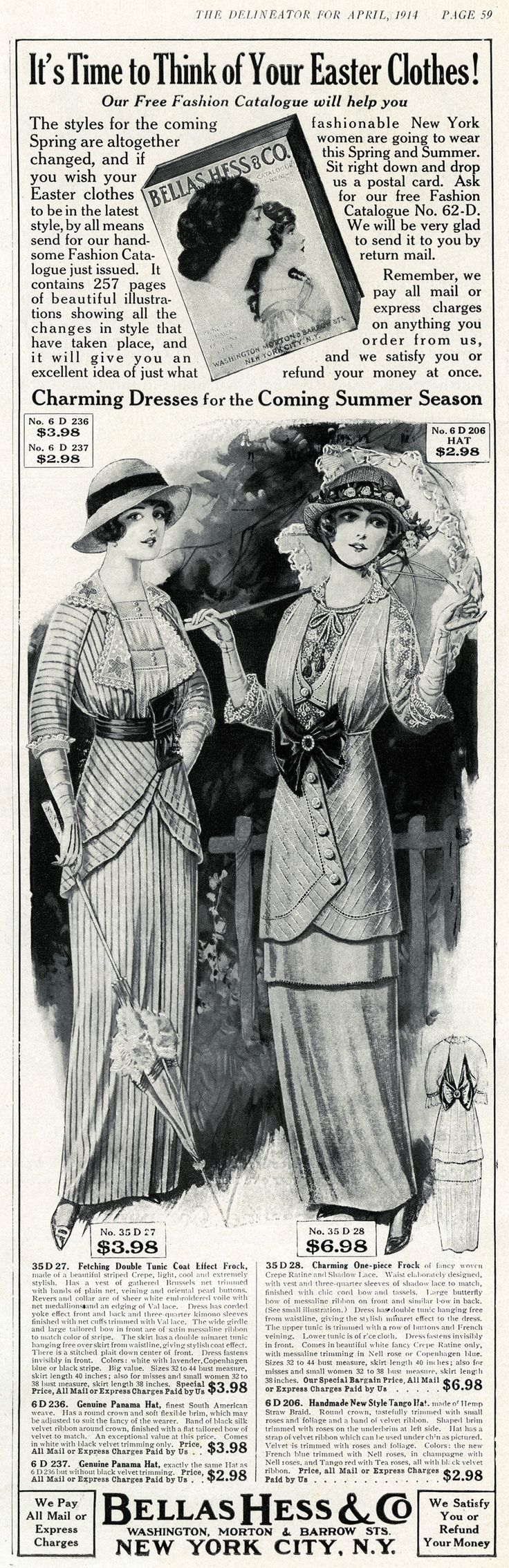 """Vintage Easter Fashion advertisement. From """"The Delineator"""" magazine, April 1914 issue"""