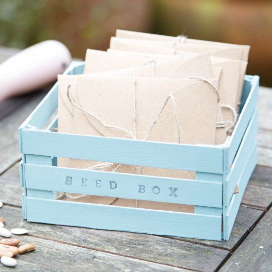 This adorable mini container is super-simple. All you need is a pack of lollipop sticks, a lick of paint and a handful of letter stamps.