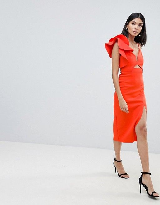 faa83c479004 DESIGN Tall frill one shoulder scuba bodycon dress with midriff