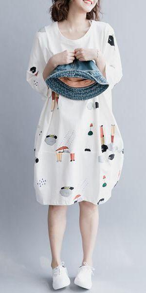 f27fefebf46 WHITE CUTE PLUS SIZE COTTON CASUAL WOMEN SHIRT DRESSES Q9042