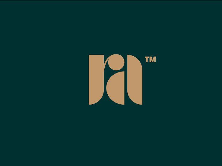 Retro Aesthetic - Logo Design - Monogram, Logotype, R, A, Brown, Dark Green…