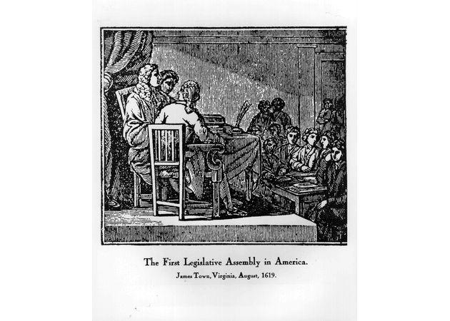 First legislative body, VA House of Burgesses, 1619.