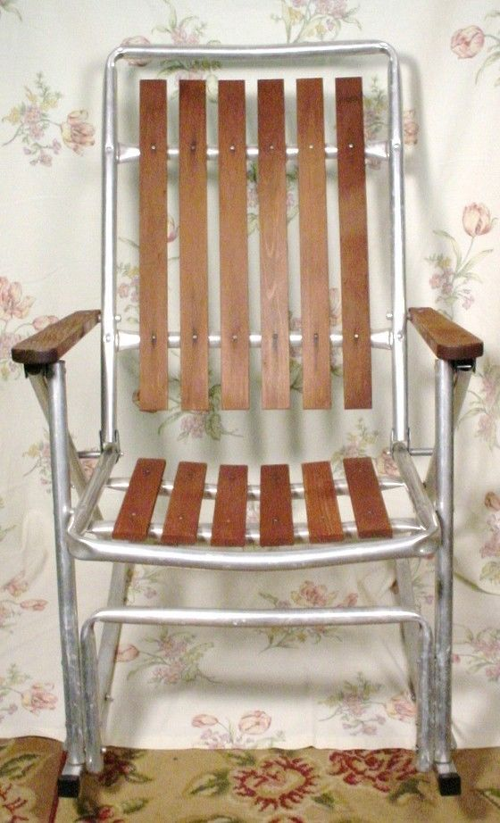 1 Vintage Metal Folding Redwood Wood Slat Rocking Lawn Chair Deck Camping Pat