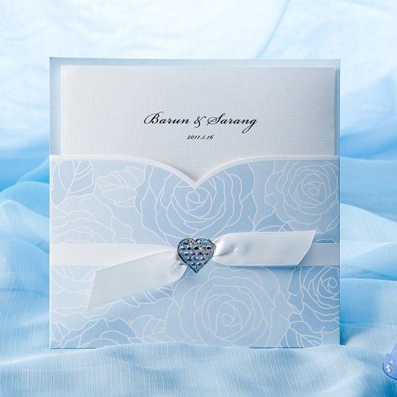 Refresh Blue Roses Pocketfold Invitation With By