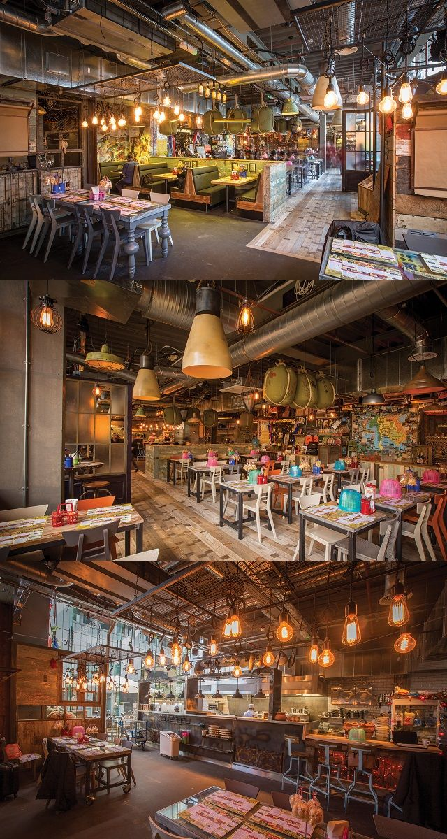 Cool lighting helps to create a bustling Bangkok street scene for Thaikhun Restaurant in both Manchester and Aberdeen. Key features include caged lamps, oversized spun pendants and bird cage pendants in brushed steel. Interior Design: JMDA