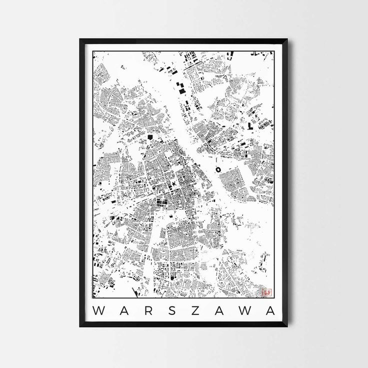 Warszawa schwarzplan map art city posters. Unique interior decor idea for offices art posters or kitchen art prints.  Minimalist city art gifts for travelers as framed art or canvas wall art. Urban plan map style. print, poster, gift | CityArtPosters.com