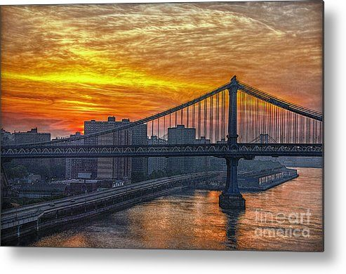 Bridge Metal Print featuring the photograph Good Morning New York by Hanny Heim, Snowbird Photography