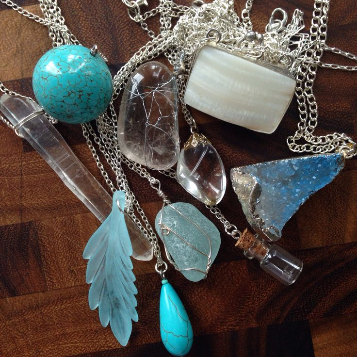 Silver, crystal and turquoise set of bohemian layering necklaces