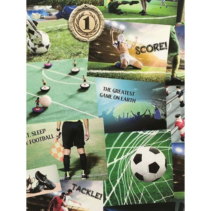 This fantastic Football Collage Wallpaper by Fine Decor is ideal for creating a football themed room. Free UK delivery available.