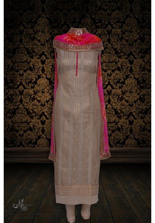 Ethereal skin suit adorn in ethnic gota work-mohans-the chic window