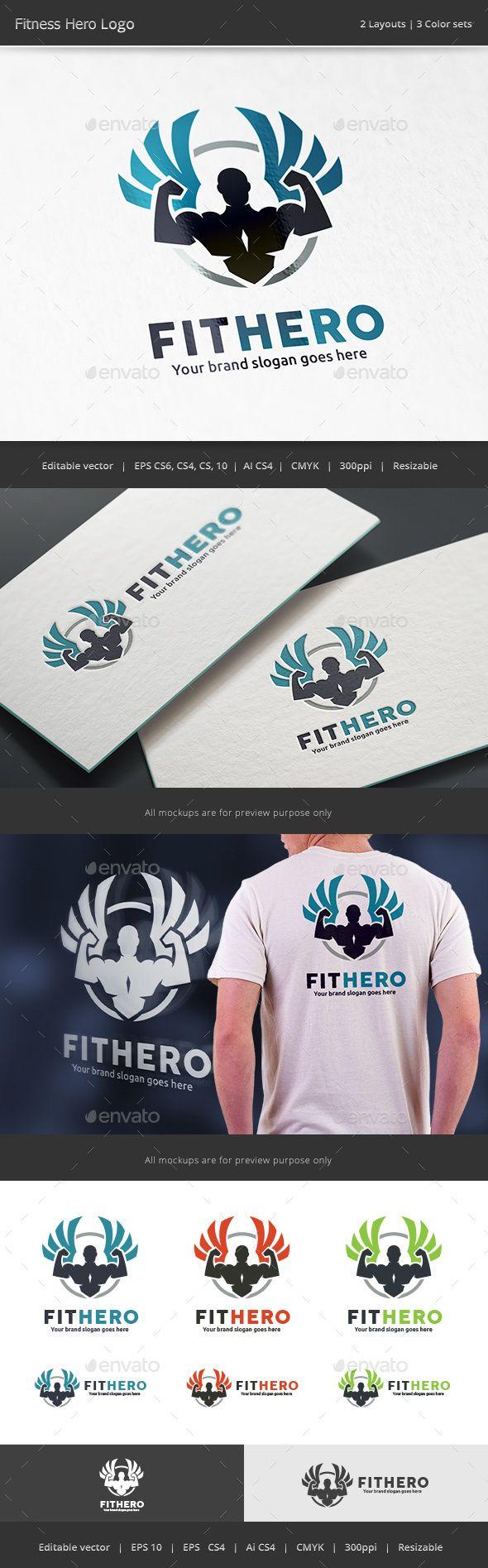 Fitness Hero  Logo Design Template Vector #logotype Download it here: http://graphicriver.net/item/fitness-hero-logo/16079679?s_rank=2?ref=nesto