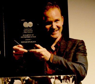 Filmmaker Morgan Spurlock is presented with Artist of Distinction in Film award at the 2015 Gold Coast International Film Festival.