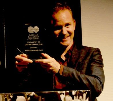 Filmmaker Morgan Spurlock is presented with Artist of Distinction in Film award at the 2015 Gold Coast International Film Festival.