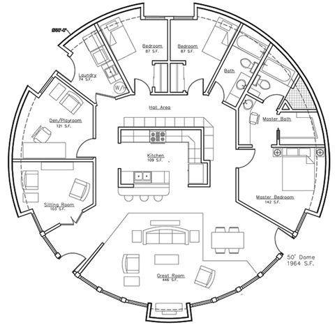 Plan a president 39 s choice monolithic dome home plan Round house plans floor plans