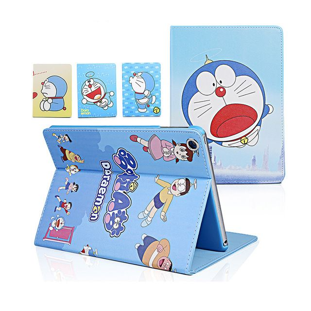funda leather case for ipad 2 3 4 Cartoon Doraemon capa Stand flip cover for ipad 2/3/4