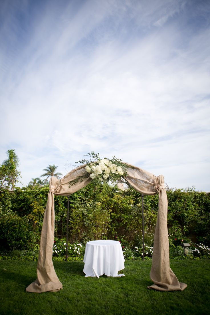 Best 25 burlap wedding arch ideas on pinterest burlap weddings wedding arch burlap hydrangea maybe different fabric and flowers junglespirit Image collections