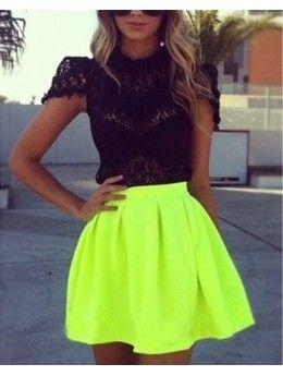 Falda verde neon