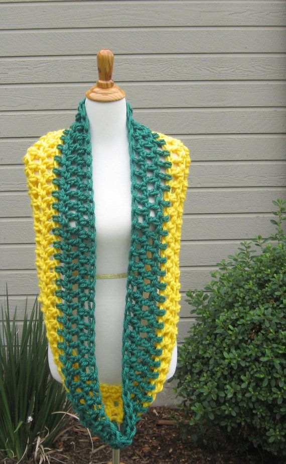 Green Bay Packers Scarf Crochet Green Yellow Nfl By Marianavail