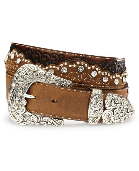 Tony Lama Kaitlyn Crystal Leather Western Belt