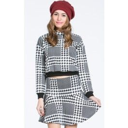 Houndstooth Sweater Crop Top