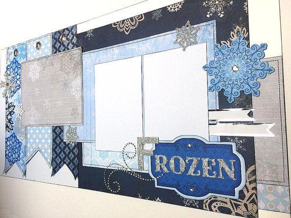 FROZEN layout - 12x12 Premade Scrapbook page set - Elsa Anna Olaf Disney World Princess Disneyland Birthday Party Costume Halloween