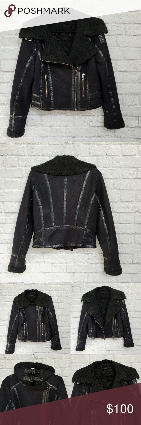 Black Faux Suede Shearling Moto Jacket Shearling
