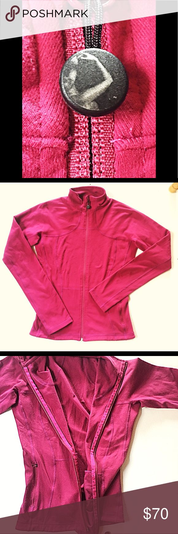 ‼️NAME ME‼️lululemon zip up ✌🏼does anyone recognize this kind of style on a zipper? I'm under the impression it's a first edition define jacket. Raspberry color, size 4. Slight piling. No holes or tears! I bought this off a fellow posher, tad small on me, just have to make sure one of my crazy lululemon girls recognize this before I sell😍💯 thanks lovelys lululemon athletica Sweaters