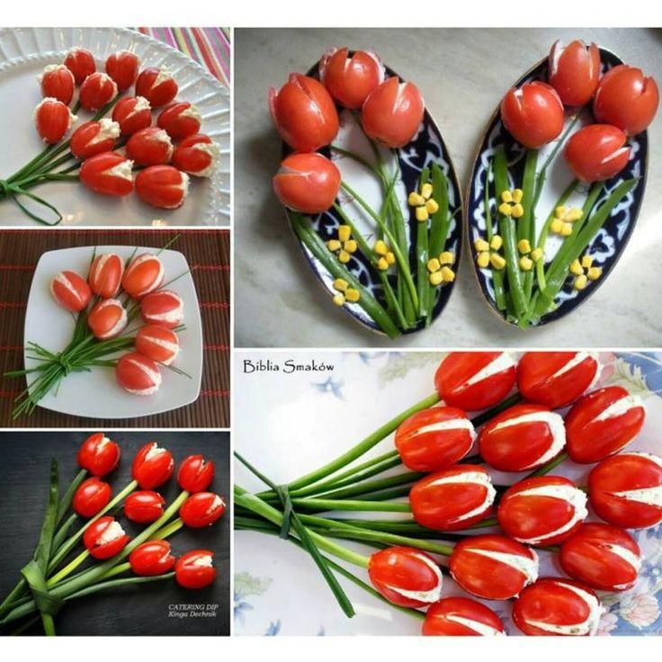 Günaydın❤ domates, peynir ve yeşil soğan ile harika bir öneri ❤ By Biblia Smokow