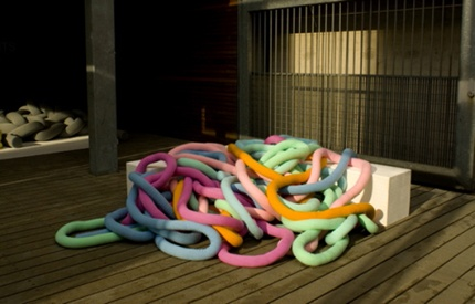 wires form a giant and colorful sofa fun for children