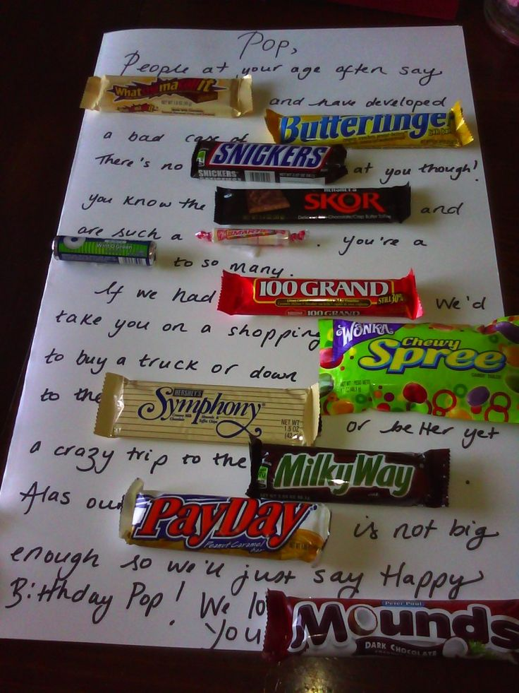 Birthday gift candy poem