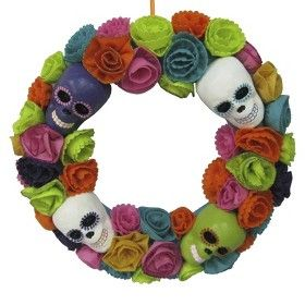 halloween colorful skulls and flowers wreath