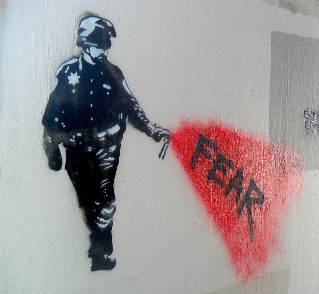 Fear - Pepper spray cop stencil