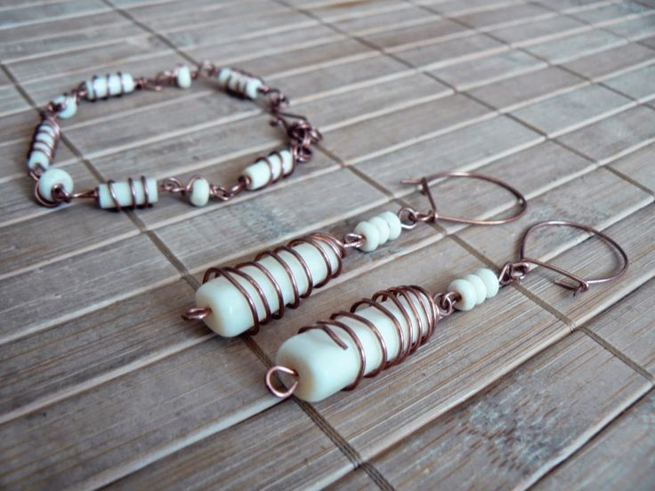 Tybetański Mnich: Kość słoniowa w miedzi, ivory, copper, earrings, jewelry, bracelet, wire wrapping